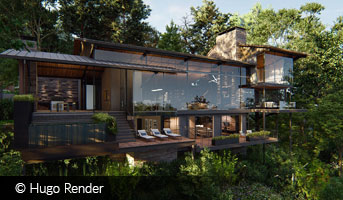 hugo render house in forest on hillside